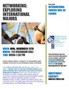 Exploring international majors event flyer